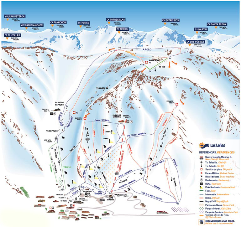 Mapa de Pistas Las Leñas
