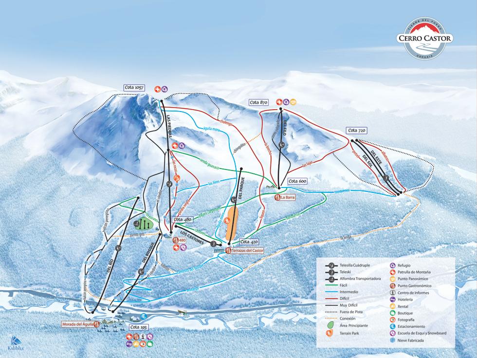 Mapa de Pistas Cerro Castor