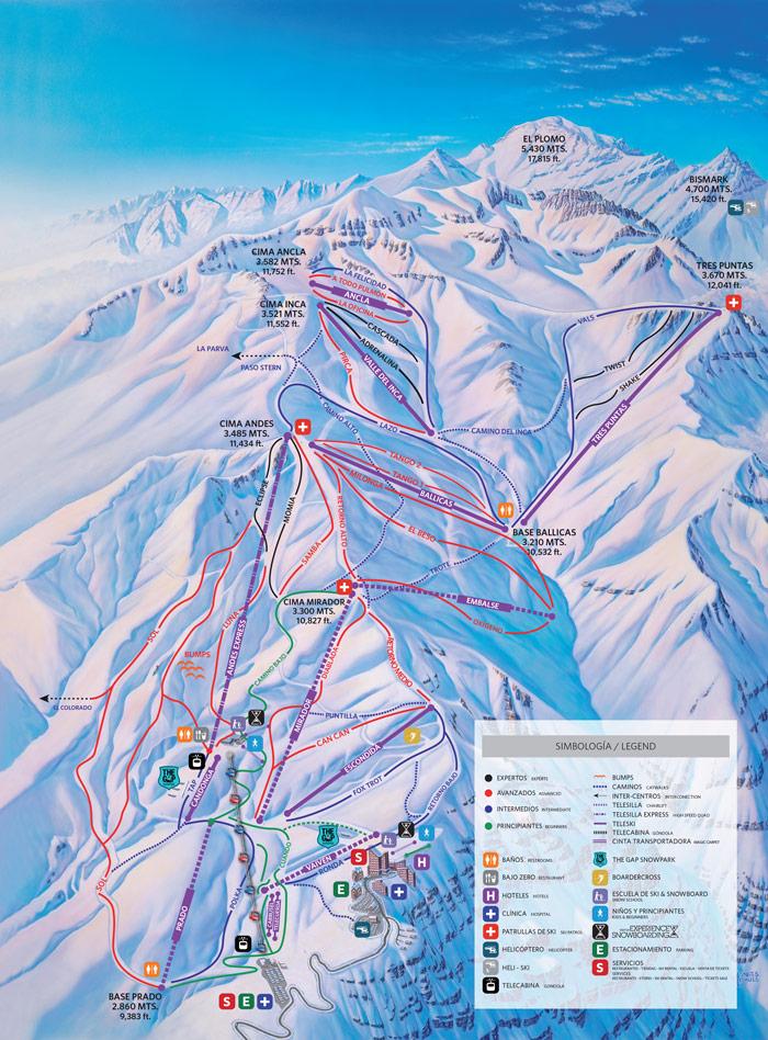 Valle Nevado Mapa de Pistas